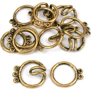 Round Hook & Eye Thriple Strand Clasp Antique Gold Plated 21mm 6Pcs Approx.