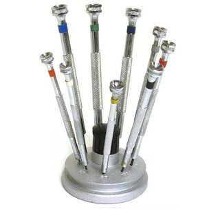 Precision Slotted Screwdrivers & Stand 10Pcs