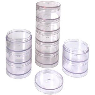10 Clear Storage Stackable Jars for Beads Beading Parts Jewelry Findings Storage