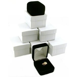 6 Black Velvet Ring Gift Boxes Jewelry Counter Displays